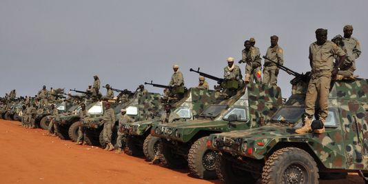Chadian Troops in Mali with Armored Personnel Carriers