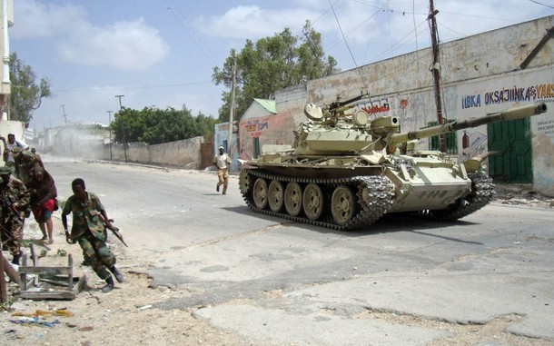 Somali government troops fight along side AMISOM peacekeepers against Islamic rebel groups in the north of the capital Mogadishu